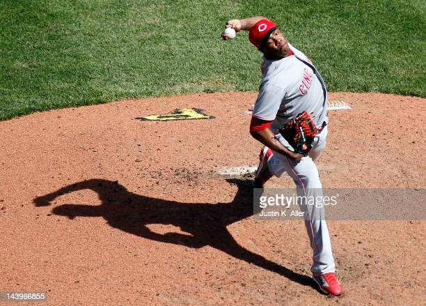 Aroldis Chapman of the Cincinnati Reds pitches in relief against the Pittsburgh Pirates during the game on May 6, 2012 at PNC Park in Pittsburgh,...