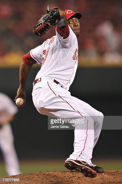 Aroldis Chapman of the Cincinnati Reds pitches in relief in the eighth inning against the Pittsburgh Pirates at Great American Ball Park on June 17,...