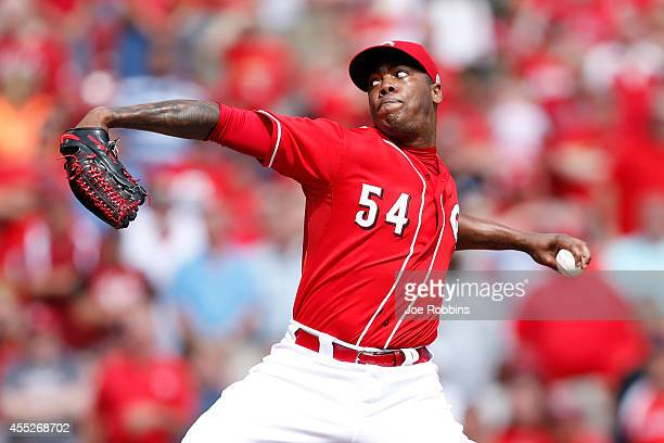Aroldis Chapman of the Cincinnati Reds pitches in the ninth inning of the game against the St Louis Cardinals at Great American Ball Park on...