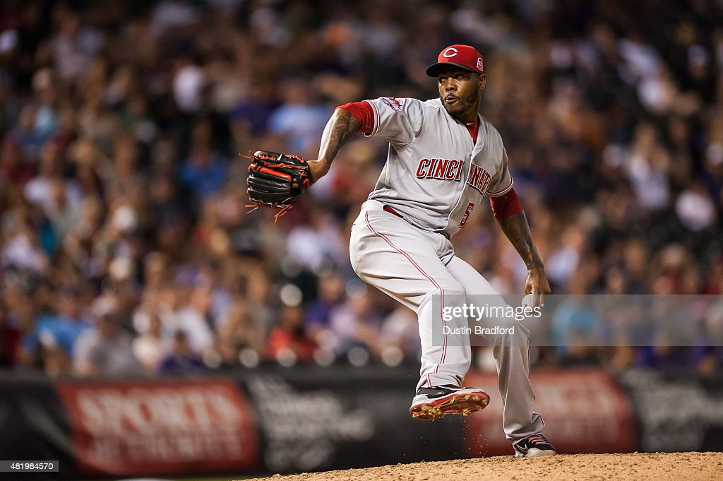 Aroldis Chapman #54 of the Cincinnati Reds pitches the last out of the game against the Colorado Rockies at Coors Field on July 25, 2015 in Denver, Colorado.