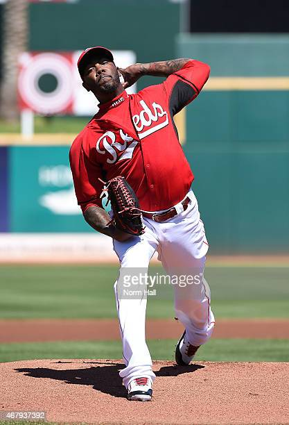 Aroldis Chapman of the Cincinnati Reds throws a warmup pitch prior to the start of a spring training game against the Chicago Cubs at Goodyear...
