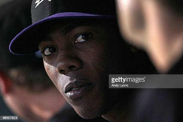 Aroldis Chapman of the Louisville Bats is pictured before the game against the Columbus Clippers at Louisville Slugger Field on April 16, 2010 in...