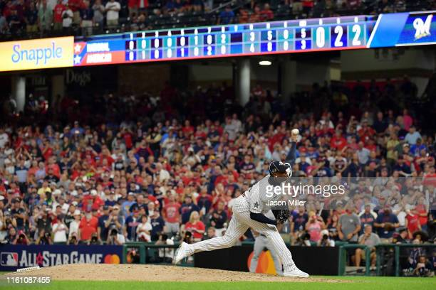 Aroldis Chapman of the New York Yankees and the American League pitches against the National League during the 2019 MLB AllStar Game presented by...