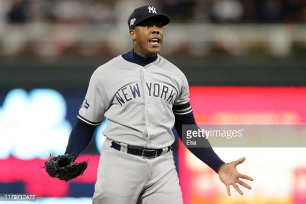 Aroldis Chapman of the New York Yankees celebrates after the final out defeating the Minnesota Twins 5-1 in game three of the American League...