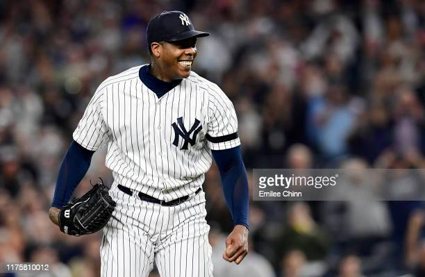 Aroldis Chapman of the New York Yankees celebrates after throwing a strike out to win 9-1 over the Los Angeles Angels at Yankee Stadium on September...
