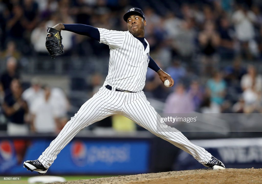 Aroldis Chapman #54 of the New York Yankees delivers a pitch in the ninth inning against the Detroit Tigers on July 31, 2017 at Yankee Stadium in the Bronx borough of New York City.