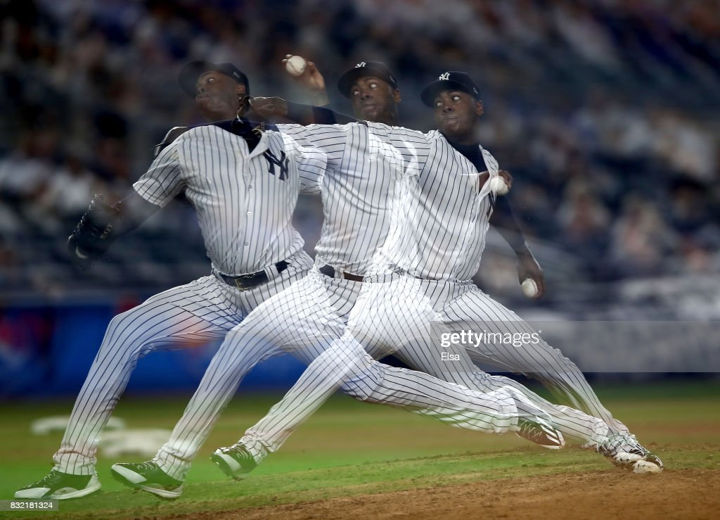 Aroldis Chapman #54 of the New York Yankees delivers a pitch in the ninth inning against the New York Mets during interleague play on August 15, 2017 at Yankee Stadium in the Bronx borough of New York City.