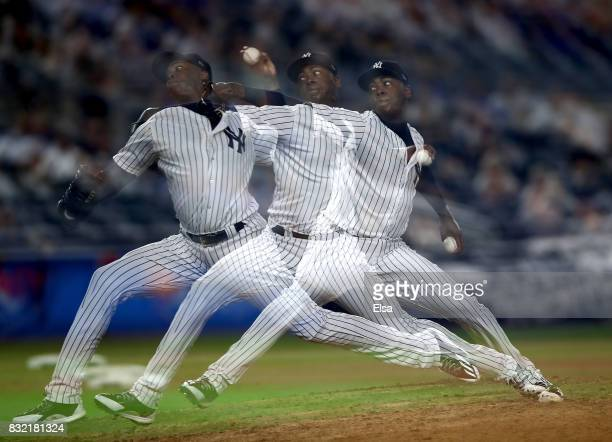 Aroldis Chapman of the New York Yankees delivers a pitch in the ninth inning against the New York Mets during interleague play on August 15, 2017 at...