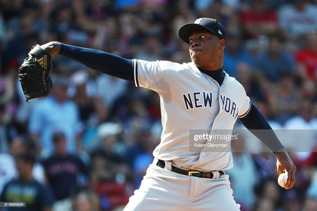 Aroldis Chapman #54 of the New York Yankees delivers in the ninth inning of game one of a doubleheader against the Boston Red Sox at Fenway Park on July 16, 2017 in Boston, Massachusetts.