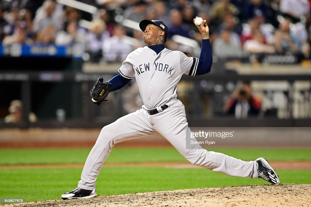 Aroldis Chapman #54 of the New York Yankees delivers the pitch during the ninth inning against the Tampa Bay Rays at Citi Field on September 11, 2017 in the Flushing neighborhood of the Queens borough of New York City. The two teams were scheduled to play in St. Petersburg, but due to the weather emergency caused by Hurricane Irma, the game was moved to New York, but with Tampa Bay remaining the 'home' team. The New York Yankees defeated the Tampa Bay Rays 5-1.