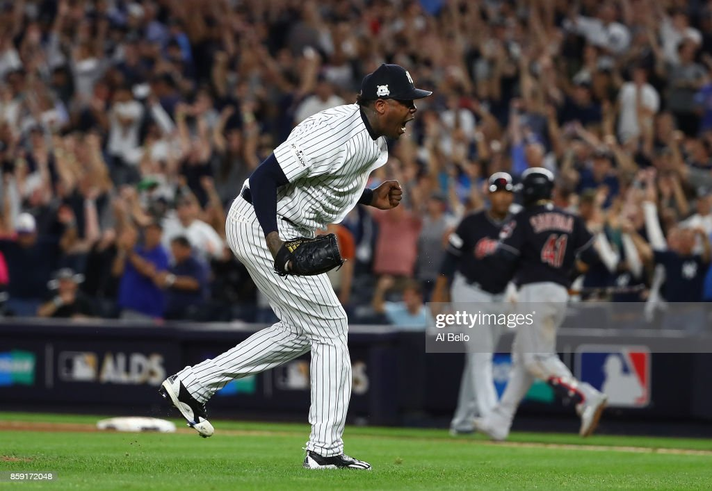 Aroldis Chapman #54 of the New York Yankees gets the save and celebrates a 1-0 win against the Cleveland Indians during Game Three of the American League Divisional Series at Yankee Stadium on October 8, 2017 in New York City.