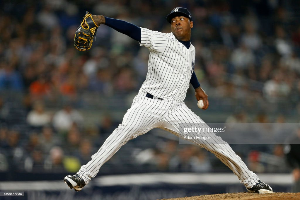 Aroldis Chapman #54 of the New York Yankees pitches against the Houston Astros during the ninth inning at Yankee Stadium on May 30, 2018 in the Bronx borough of New York City. The Yankees won 5-3.