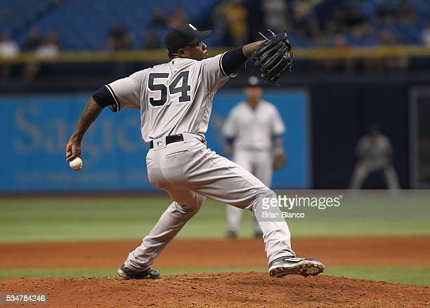 Aroldis Chapman of the New York Yankees pitches during the ninth inning of a game against the Tampa Bay Rays on May 27 2016 at Tropicana Field in St...