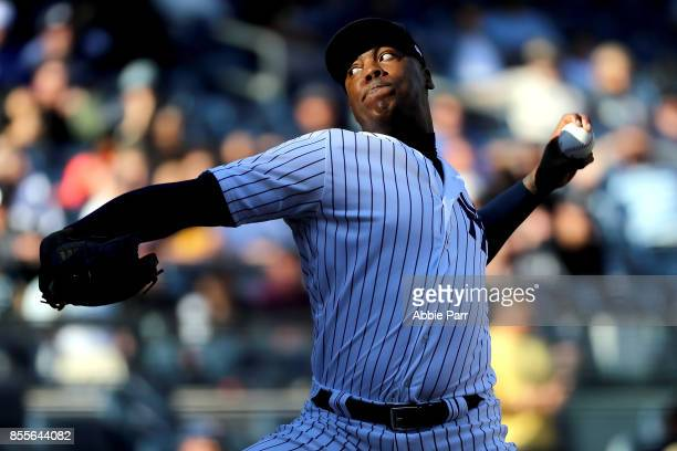Aroldis Chapman of the New York Yankees pitches during the ninth inning against the Toronto Blue Jays at Yankee Stadium on September 29 2017 in the...