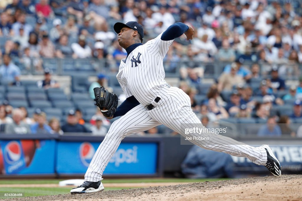 Aroldis Chapman #54 of the New York Yankees pitches in the ninth inning of a game against the Tampa Bay Rays at Yankee Stadium on July 29, 2017 in the Bronx borough of New York City. The Yankees defeated the Rays 5-4.