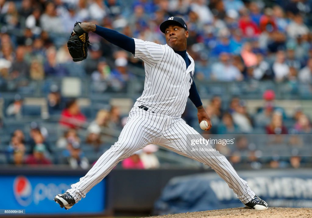 Aroldis Chapman #54 of the New York Yankees pitches in the ninth inning against the Toronto Blue Jays at Yankee Stadium on September 30, 2017 in the Bronx borough of New York City.
