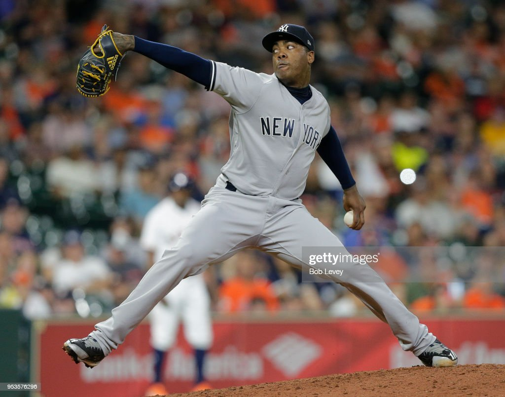 Aroldis Chapman #54 of the New York Yankees pitches in the ninth inning against the Houston Astros at Minute Maid Park on May 1, 2018 in Houston, Texas. New York won 4-0.
