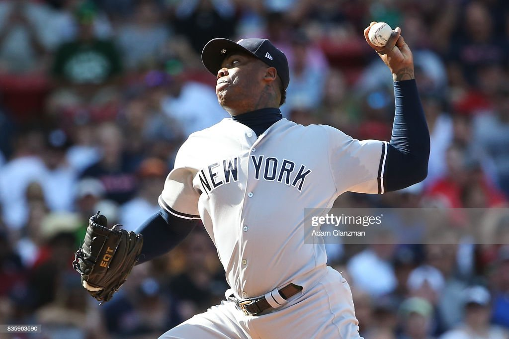 Aroldis Chapman #54 of the New York Yankees pitches in the sixth inning of a game against the Boston Red Sox at Fenway Park on August 20, 2017 in Boston, Massachusetts.