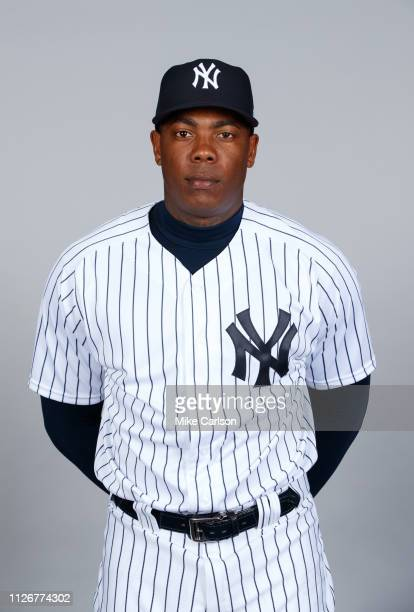 Aroldis Chapman of the New York Yankees poses during Photo Day on Thursday February 21 2019 at George M Steinbrenner Field in Tampa Florida