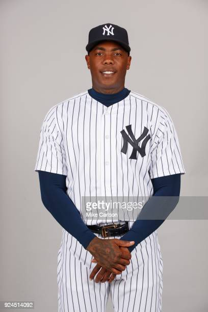 Aroldis Chapman of the New York Yankees poses during Photo Day on Wednesday February 21 2018 at George M Steinbrenner Field in Tampa Florida