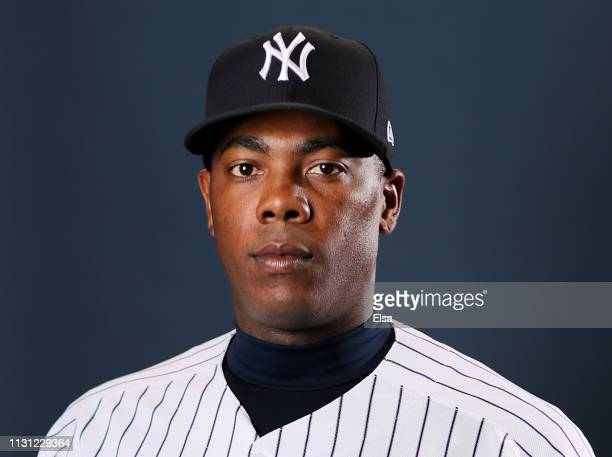 Aroldis Chapman of the New York Yankees poses for a portrait during the New York Yankees Photo Day on February 21 2019 at George M Steinbrenner Field...