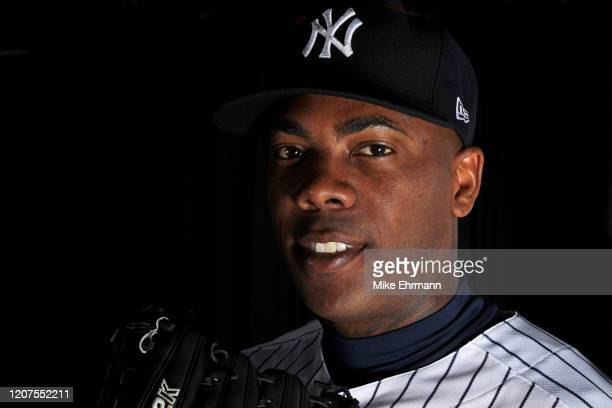 Aroldis Chapman of the New York Yankees poses for a portrait during photo day on February 20, 2020 in Tampa, Florida.