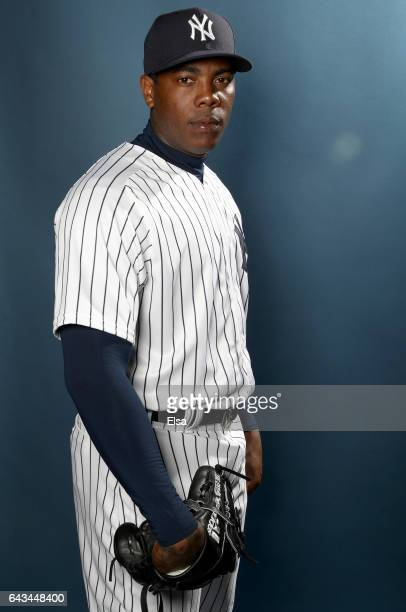 78c2b6ce347 Aroldis Chapman of the New York Yankees poses for a portrait during the New  York Yankees