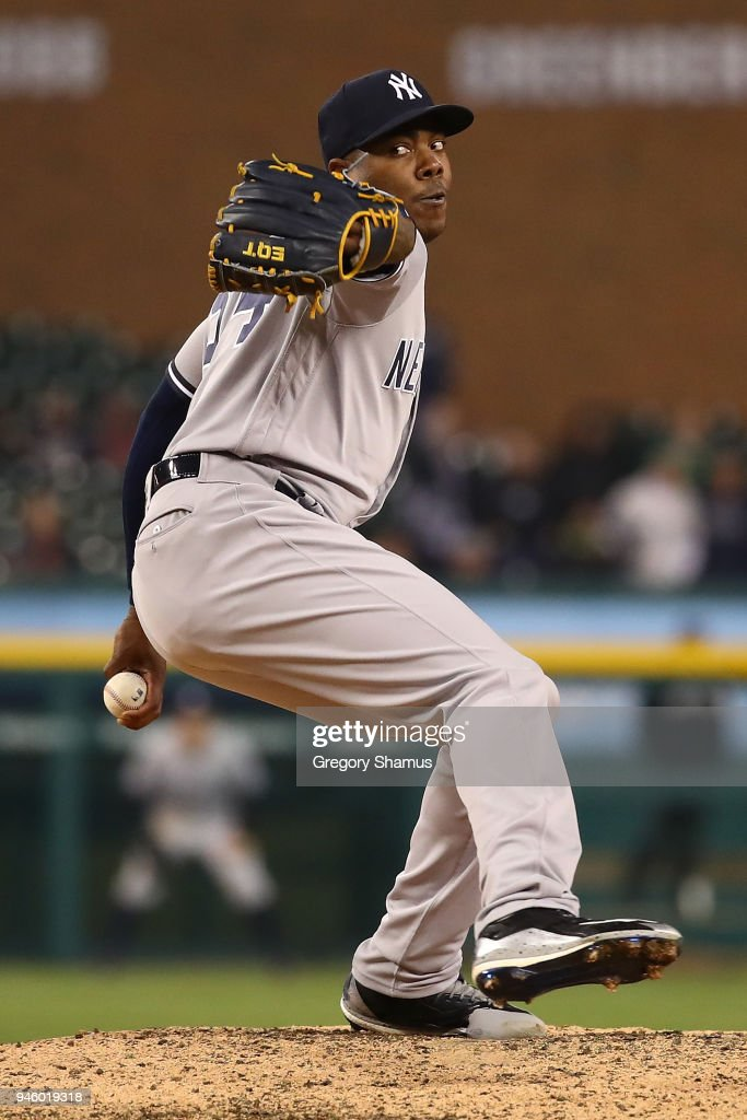 Aroldis Chapman #54 of the New York Yankees throws a ninth inning pitch while playing the Detroit Tigers at Comerica Park on April 13, 2018 in Detroit, Michigan. New York won the game 8-6.