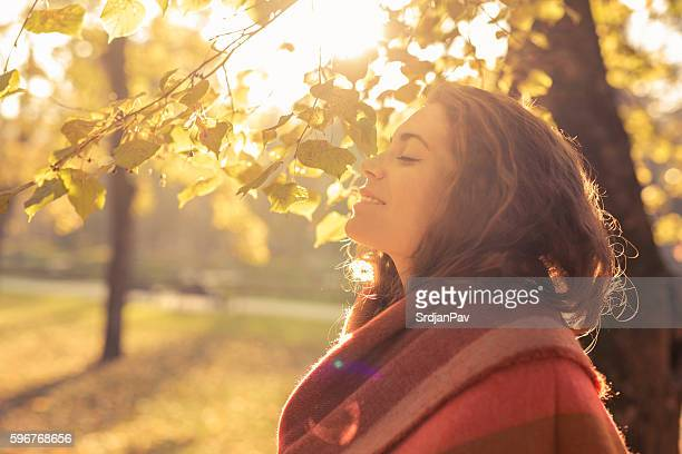 aroma of the fall - serene people stock pictures, royalty-free photos & images