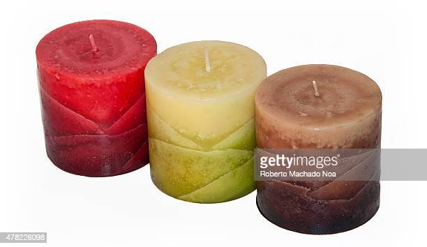 Aromatic candles Colorful decorative candles isolated on white background