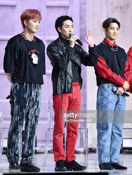Aron, Baekho of NU'EST attend the release showcase of 'Romanticize' at Yes24 Live Hall on April 19, 2021 in Seoul, South Korea.