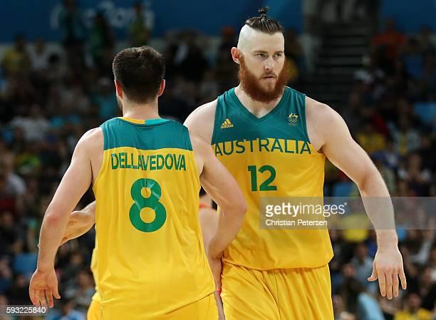Aron Baynes of Australia celebrates with Matthew Dellavedova of Australia during the Men's Basketball Bronze medal game between Australia and Spain...