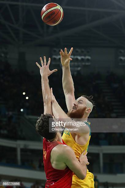 Aron Baynes of Australia shoots for the basket during the Men's Basketball Bronze medal game between Australia and Spain on Day 16 of the Rio 2016...