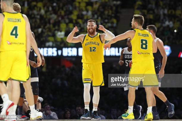 Aron Baynes of the Australia Boomers reacts against USA on August 24 2019 at Marvel Stadium in Melbourne Australia NOTE TO USER User expressly...