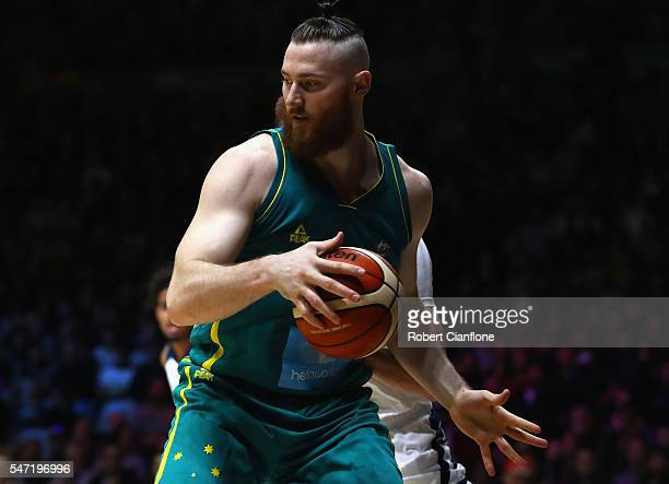 Aron Baynes of the Boomers controls the ball during the match between the Australian Boomers and the Pac12 College Allstars at Hisense Arena on July...