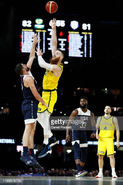 Aron Baynes of the Boomers shoots during game two of the International Basketball series between the Australian Boomers and United States of America...