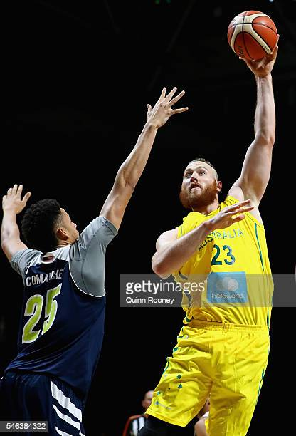 Aron Baynes of the Boomers shoots during the match between the Australian Boomers and the Pac-12 College All-Stars at Hisense Arena on July 12, 2016...