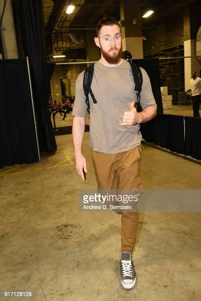 Aron Baynes of the Boston Celtics arrives at the stadium before the game against the Golden State Warriors on January 27 2018 at ORACLE Arena in...