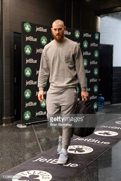 Aron Baynes of the Boston Celtics arrives before the game against the Houston Rockets on March 3 2019 at the TD Garden in Boston Massachusetts NOTE...