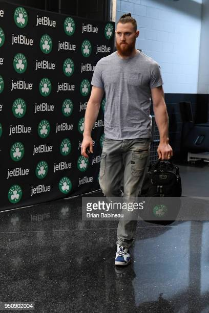 Aron Baynes of the Boston Celtics arrives to the arena prior to Game Five of Round One of the 2018 NBA Playoffs against the Milwaukee Bucks on April...
