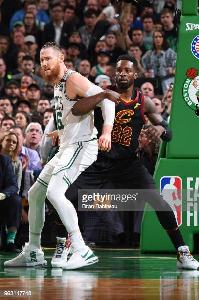 Aron Baynes of the Boston Celtics boxes out Jeff Green of the Cleveland Cavaliers during Game Seven of the Eastern Conference Finals of the 2018 NBA...