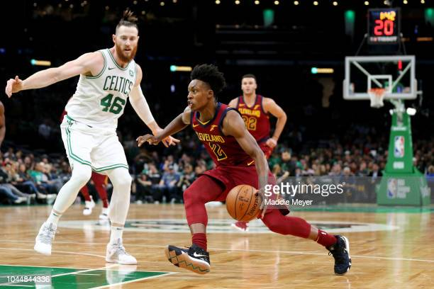 Aron Baynes of the Boston Celtics defends Collin Sexton of the Cleveland Cavaliers at TD Garden on October 2 2018 in Boston Massachusetts