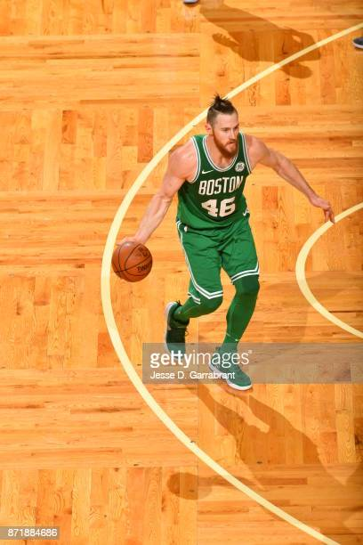 Aron Baynes of the Boston Celtics dribbles the ball during the game against the Los Angeles Lakers on November 8 2017 at the TD Garden in Boston...