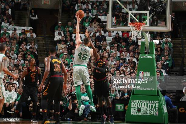 Aron Baynes of the Boston Celtics drives to the basket during the game against the Cleveland Cavaliers on February 11 2018 at TD Garden in Boston...