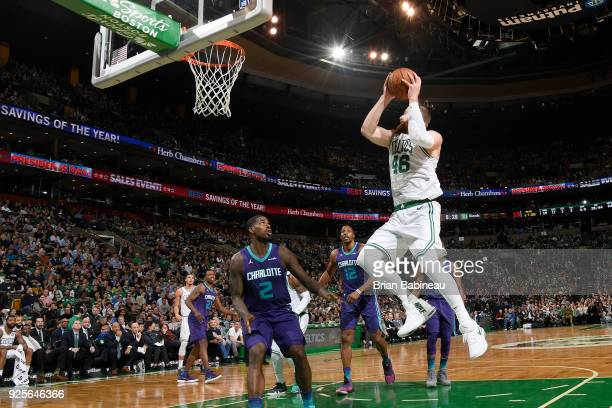 Aron Baynes of the Boston Celtics drives to the basket during the game against the Charlotte Hornets on February 28 2018 at the TD Garden in Boston...