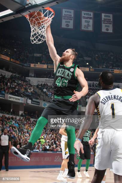 Aron Baynes of the Boston Celtics dunks against the Indiana Pacers on November 25 2017 at Bankers Life Fieldhouse in Indianapolis Indiana NOTE TO...