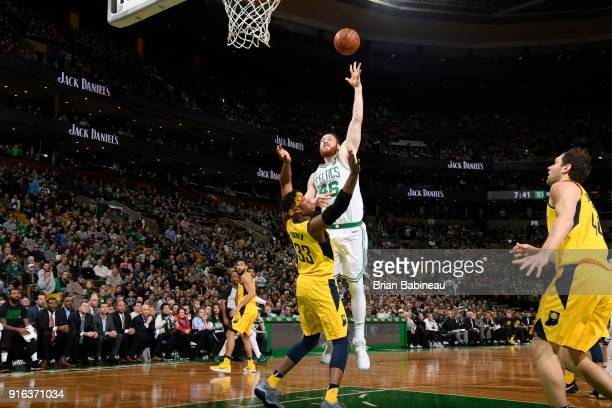 Aron Baynes of the Boston Celtics dunks against the Indiana Pacers on February 9 2018 at the TD Garden in Boston Massachusetts NOTE TO USER User...