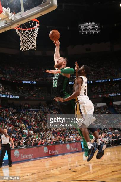 Aron Baynes of the Boston Celtics dunks against the New Orleans Pelicans on March 18 2018 at Smoothie King Center in New Orleans Louisiana NOTE TO...