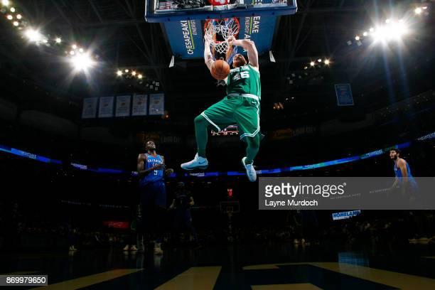 Aron Baynes of the Boston Celtics dunks against the Oklahoma City Thunder on November 3 2017 at Chesapeake Energy Arena in Oklahoma City Oklahoma...