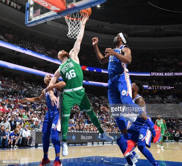 Aron Baynes of the Boston Celtics dunks against the Philadelphia 76ers during the game on October 20 2017 at Wells Fargo Center in Philadelphia...